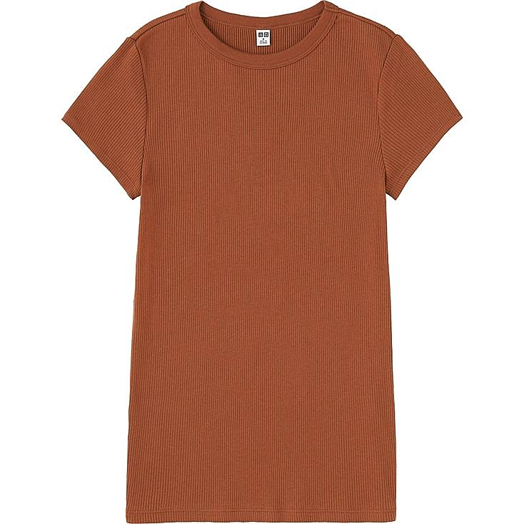 WOMEN RIBBED CREWNECK SHORT-SLEEVE T-SHIRT, BROWN, large