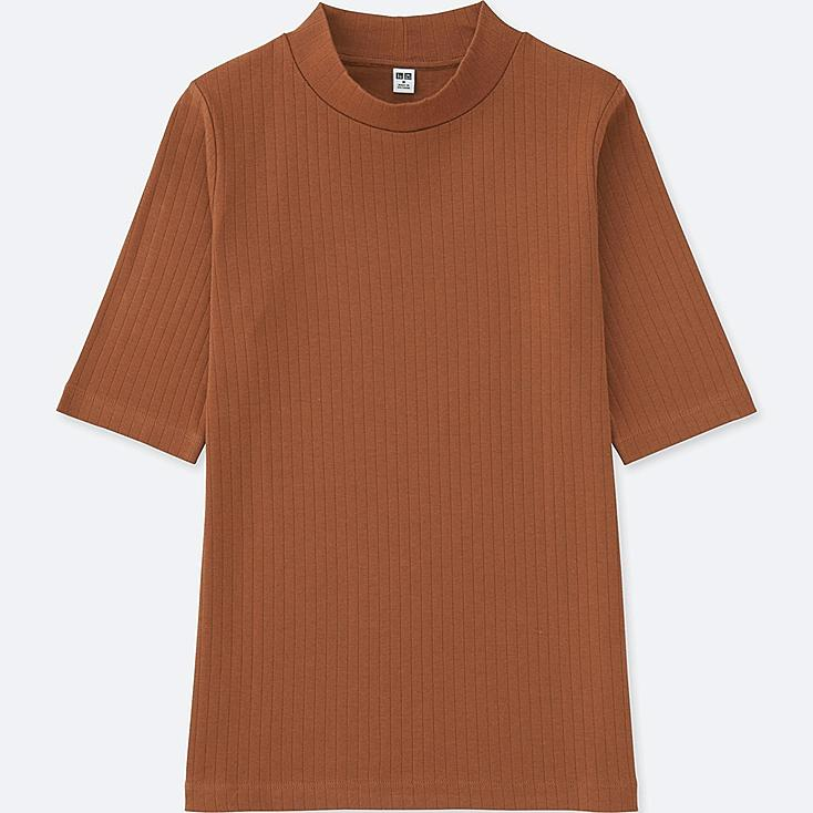 WOMEN RIBBED HIGH NECK HALF SLEEVE T-SHIRT, BROWN, large