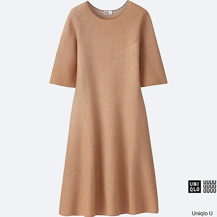 WOMEN Uniqlo U Cotton Flare Half Sleeve Dress