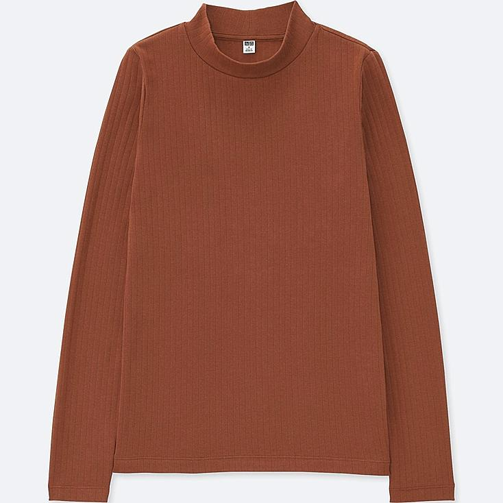 Women ribbed high neck long sleeve t shirt uniqlo us for High neck tee shirts