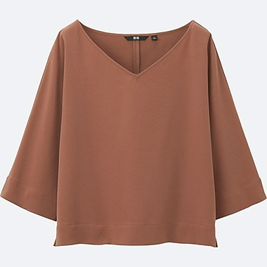 WOMEN Easy Care Drape 3/4 Sleeve Blouse
