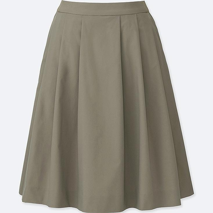 WOMEN DRY STRETCH TUCKED SKIRT, BROWN, large