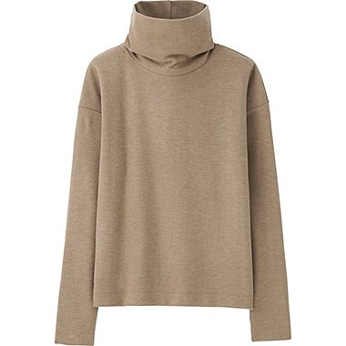 WOMEN HEATTECH FLEECE OFF TURTLENECK LONG-SLEEVE T-SHIRT, BROWN, medium