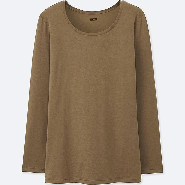 WOMEN HEATTECH CREW NECK LONG-SLEEVE T-SHIRT, BROWN, large