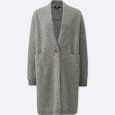WOMEN MELANGE WOOL LONG SLEEVE COAT