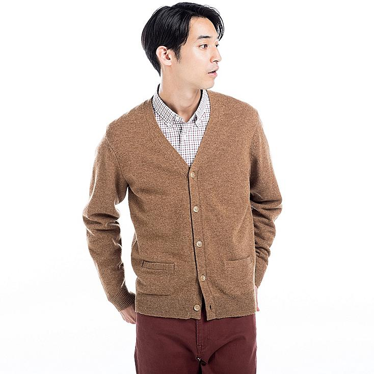Lambswool V Neck Cardigan, BROWN, large