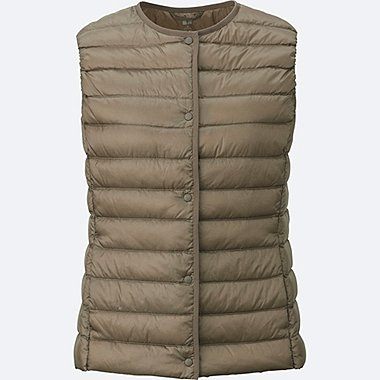 Women Ultra Light Down Compact Vest, BROWN, medium