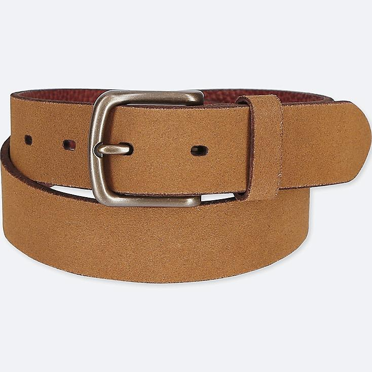 MEN ITALIAN LEATHER SUEDE BELT, BROWN, large