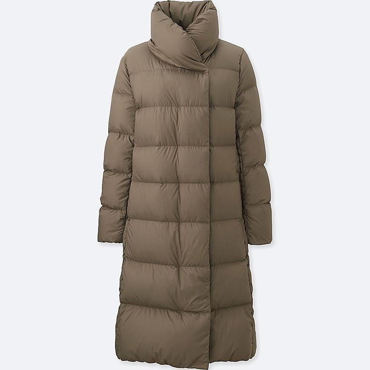 WOMEN LIGHTWEIGHT DOWN VOLUME COLLAR COAT, BROWN, large