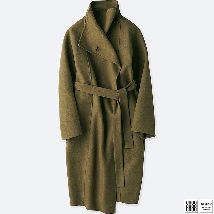 WOMEN U DOUBLE FACE WRAP COAT, BROWN, large