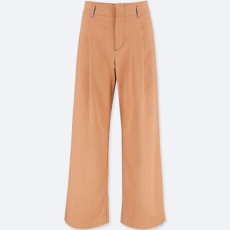 WOMEN HIGH-WAIST CHINO WIDE-LEG PANTS, BROWN, large
