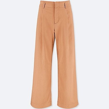 WOMEN HIGH-WAIST CHINO WIDE-LEG PANTS, BROWN, medium