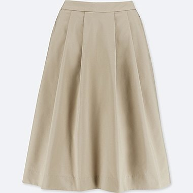 WOMEN HIGH-WAIST DRY STRETCH TUCKED SKIRT, BROWN, medium