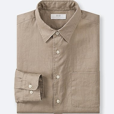 MEN PREMIUM LINEN LONG-SLEEVE SHIRT, BROWN, medium
