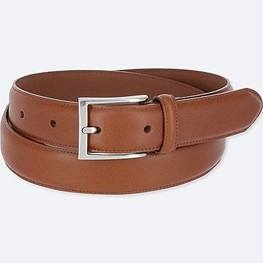 MEN ITALIAN LEATHER STITCHED BELT, BROWN, medium