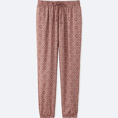 WOMEN DRAPE TILE-PRINT PANTS, BROWN, medium