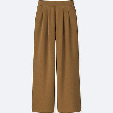 WOMEN PONTE TUCK WIDE TROUSERS
