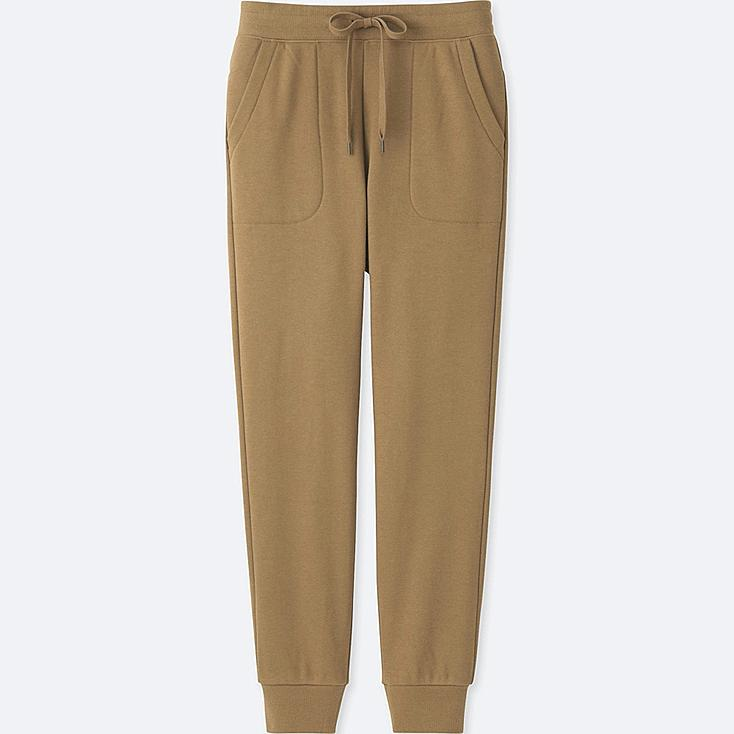 WOMEN PILE-LINED SWEATPANTS, BROWN, large