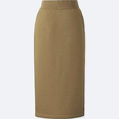 WOMEN PILE-LINED SWEAT SKIRT, BROWN, medium