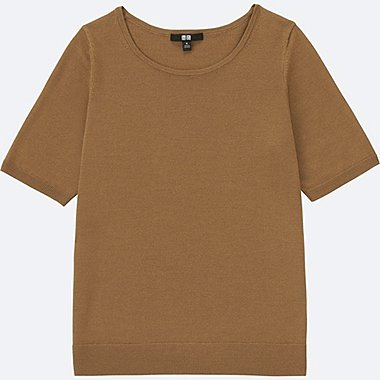 WOMEN EXTRA FINE MERINO HALF-SLEEVE SWEATER, BROWN, medium