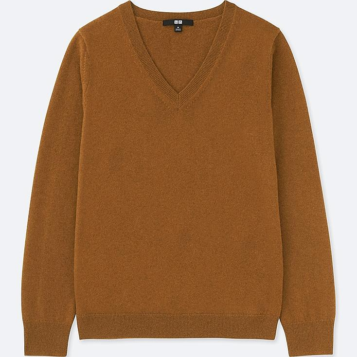 WOMEN CASHMERE V-NECK SWEATER, BROWN, large