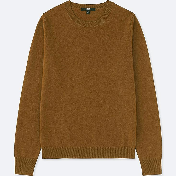 WOMEN CASHMERE CREW NECK SWEATER, BROWN, large