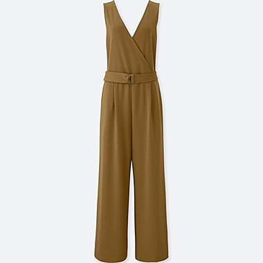 WOMEN PONTE SLEEVELESS WRAP JUMPSUIT, BROWN, medium