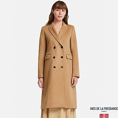 WOMEN WOOL-BLEND COAT (INES DE LA FRESSANGE), BROWN, medium
