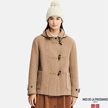 WOMEN DUFFLE SHORT COAT (INES DE LA FRESSANGE), BROWN, medium