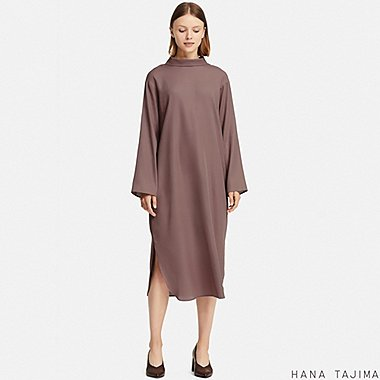 WOMEN MOCK NECK LONG-SLEEVE DRESS (HANA TAJIMA), BROWN, medium