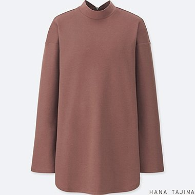 WOMEN HPJ MOCK NECK LONG-SLEEVE TUNIC, BROWN, medium