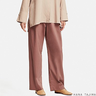 WOMEN HPJ STRETCH WIDE PANTS, BROWN, medium
