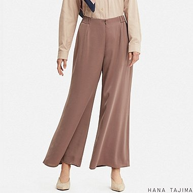 WOMEN HANA TAJIMA SATIN WIDE ANKLE LENGTH TROUSERS