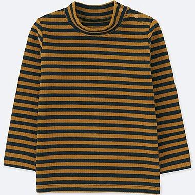 TODDLER RIBBED HIGH-NECK LONG-SLEEVE T-SHIRT, BROWN, medium