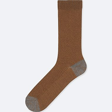 MEN HEATTECH WIDE HERRINGBONE SOCKS, BROWN, medium