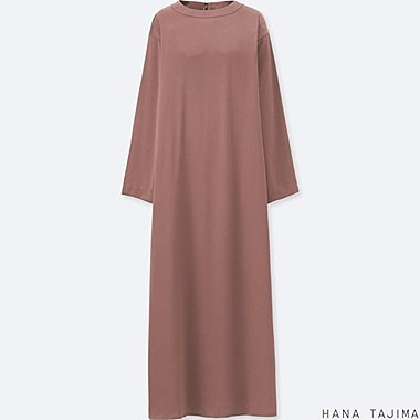 WOMEN HPJ FLARE LONG-SLEEVE LONG DRESS, BROWN, medium