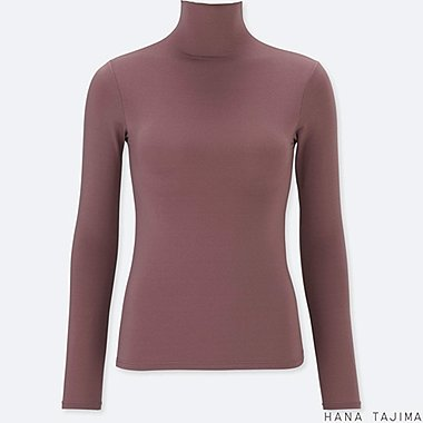 WOMEN HPJ AIRism HIGH-NECK LONG-SLEEVE T-SHIRT, BROWN, medium