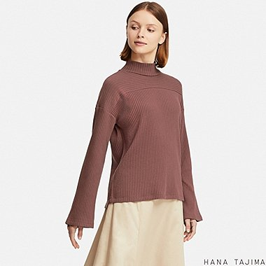 WOMEN RIBBED HIGH-NECK LONG-SLEEVE T-SHIRT (HANA TAJIMA), BROWN, medium