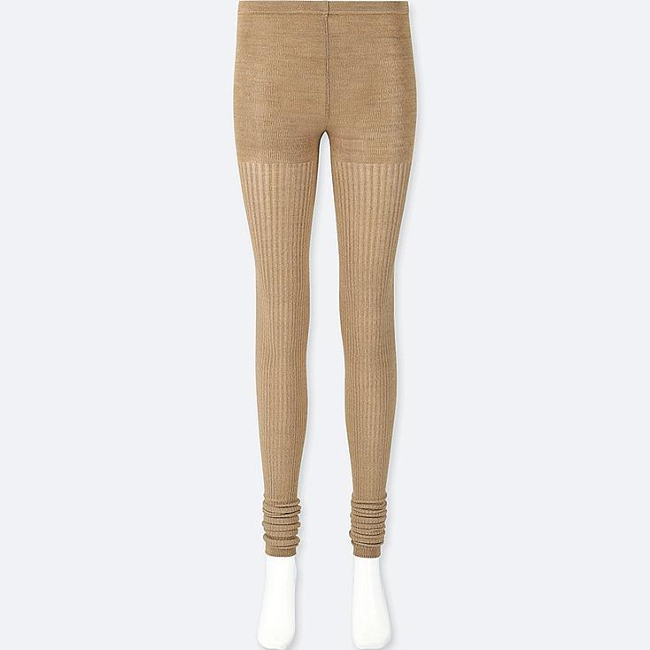 WOMEN HEATTECH KNITTED RIBBED MÉLANGE LEGGINGS, BROWN, large