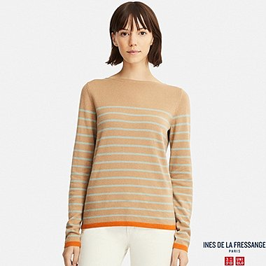 WOMEN CASHMERE STRIPED SWEATER (INES DE LA FRESSANGE), BROWN, medium