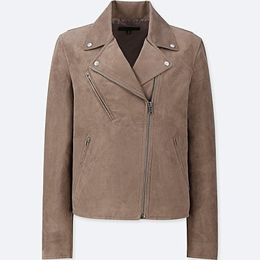 WOMEN SUEDE RIDERS JACKET, BROWN, medium