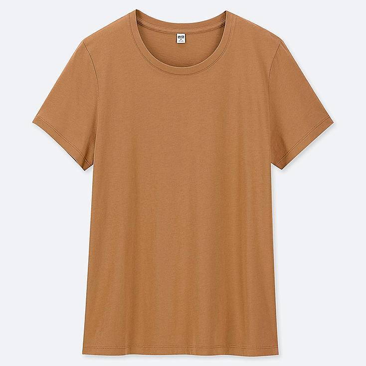 WOMEN SUPIMA® COTTON CREW NECK SHORT-SLEEVE T-SHIRT, BROWN, large
