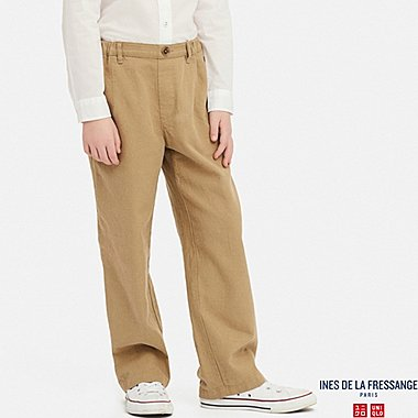 KIDS LINEN COTTON WIDE PANTS (INES DE LA FRESSANGE), BROWN, medium
