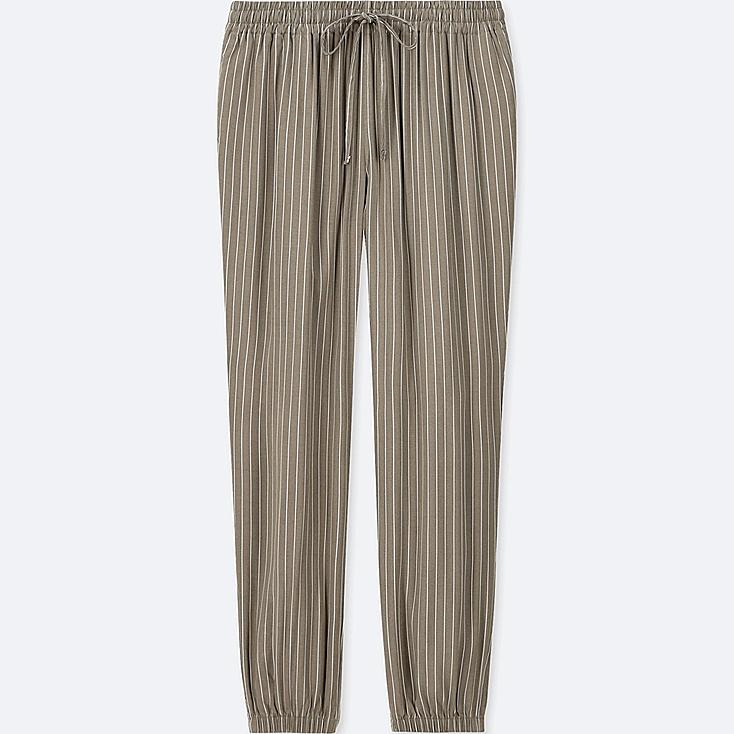 WOMEN DRAPE JOGGER STRIPE PANTS, BROWN, large