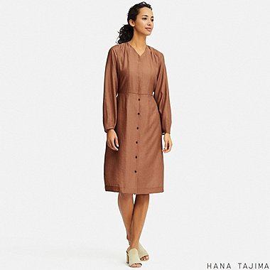 WOMEN TIEBACK LONG-SLEEVE DRESS (HANA TAJIMA), BROWN, medium