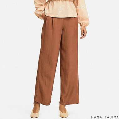WOMEN TUCK RELAXED WIDE PANTS (HANA TAJIMA), BROWN, medium