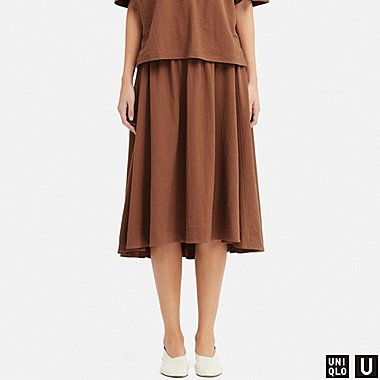 WOMEN U MIDI SKIRT, BROWN, medium