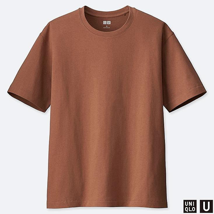 WOMEN U RELAX FIT CREW NECK SHORT-SLEEVE T-SHIRT, BROWN, large