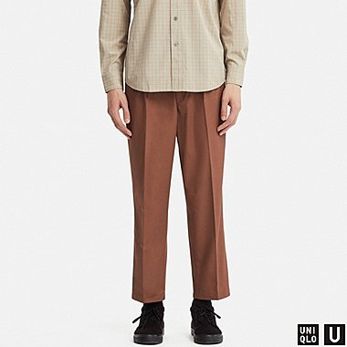 MEN U WIDE-FIT PLEATED TAPERED CHINO, BROWN, medium