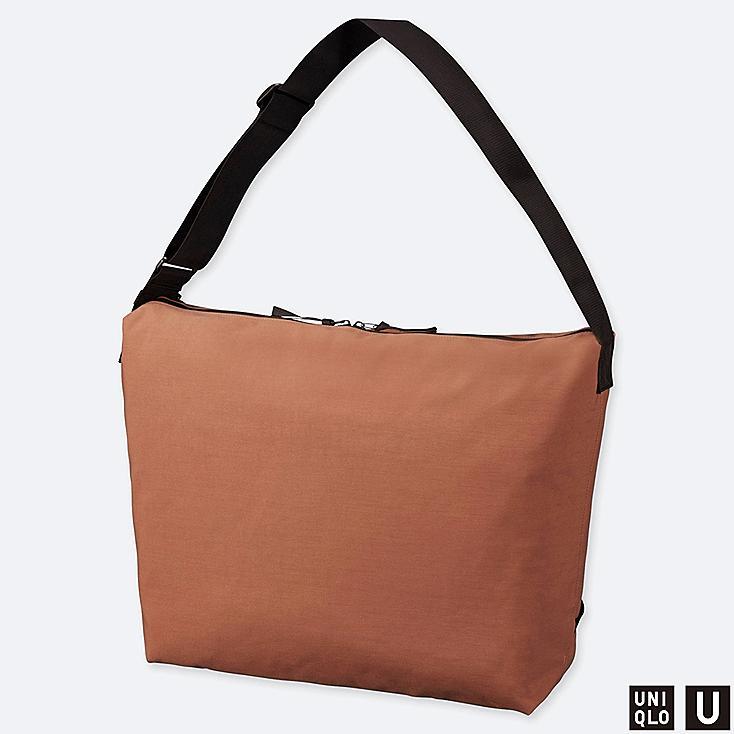 U BLOCKTECH SHOULDER BAG, BROWN, large